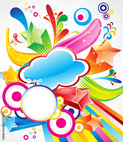 abstract colorful exploade background with stars