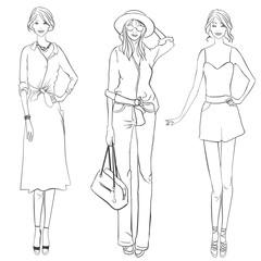 Girls with different garment. Fashion designer sketch.