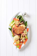 Marinated pork chop and vegetable salad