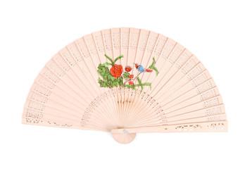 Bird on Roses Motif Oriental Fan