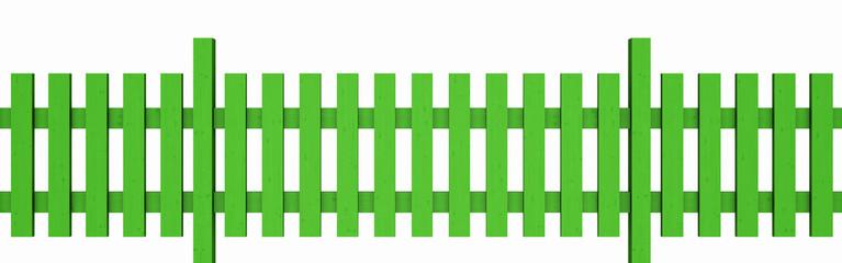 3D Holzzaun - grün freigestellt 01