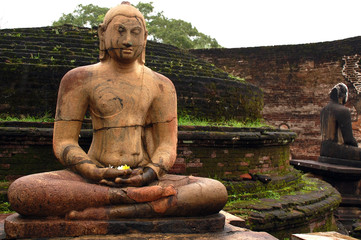 Seated Buddha Statues in the Rain in Sri Lanka