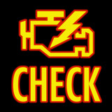 Check engine light in yellow on automobile dashboard