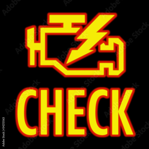 Check engine light in yellow on automobile dashboard - 34213563