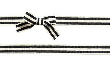 noeud ruban gros-grain rayé noir et blanc