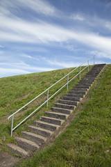 Treppe am Deich bei Greetsiel, Ostfriesland,Deutschland