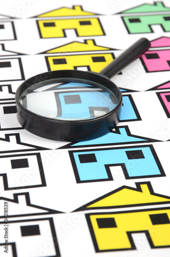 House sign and magnifier