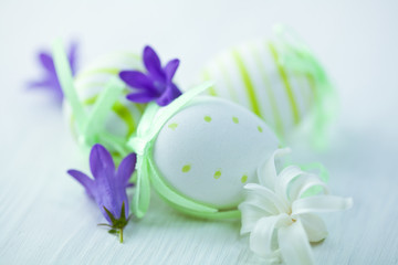 Easter eggs and bell flowers
