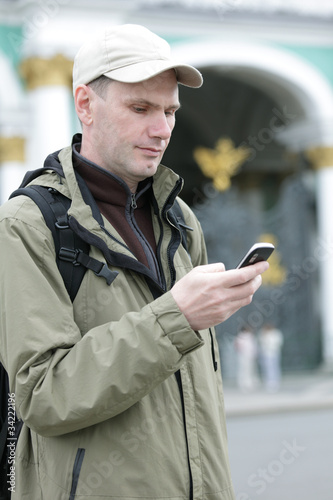 Tourist send SMS in St. Petersburg