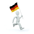 Illustration of a 3d man holding a deutschland flag