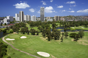 Scenic golf course with buildings in Hawaii