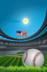 baseball stadium and sun