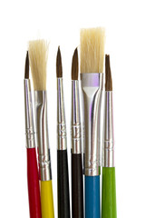 set of brushes for painting on white