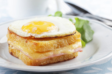 Croque madame sandwich closeup