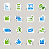 Papercut - Shopping icons poster