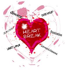 grungy heartbreak illustration,vector