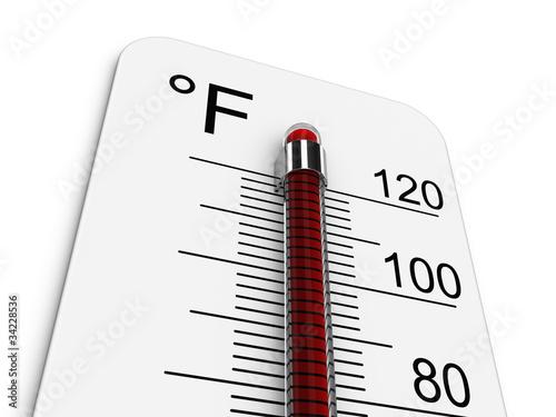 Leinwandbild Motiv Thermometer indicates extreme high temperature