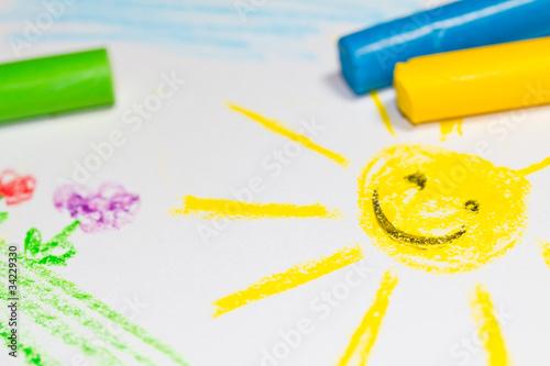 Fototapeten,sonne,zeichnung,blumenwiese,malen
