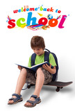 Kid on skateboard with back to school theme isolated on white