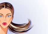Face part of beautiful vector woman on natural blue background poster