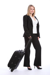 Business class travel for beautiful blonde woman