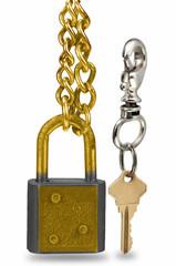 Cerradura, candado  con llave en fondo blanco