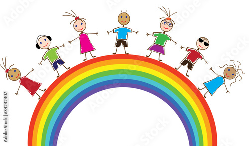 Poster Regenboog vector funny people and rainbow