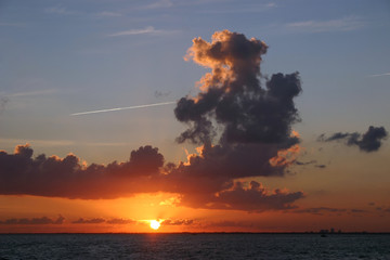 Majestic Sunset over Biscayne Bay near Miami, Florida