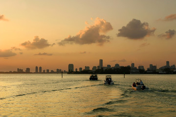 Boats on Biscayne Bay at sunset,  Miami in background