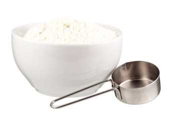 Wheat Flour in a White Bowl