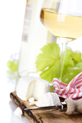 white wine, grape and cheese