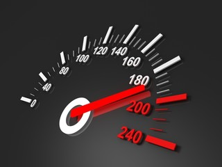 black speedometer with red arrow