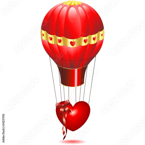 Cuore Amore in Mongolfiera-Love Heart on Fire Balloon-Vector