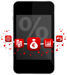 Smartphone 5 Red Icons Mobile Banking % Euro
