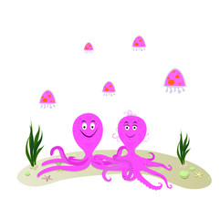 Funny cartoon paar octopus and jellyfish