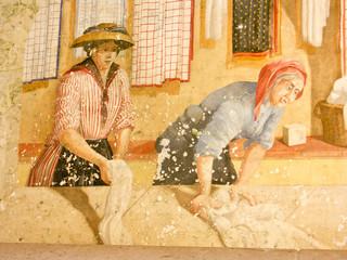 détail fresque murale lavoir d'Aiguines, Verdon, Var, Provence
