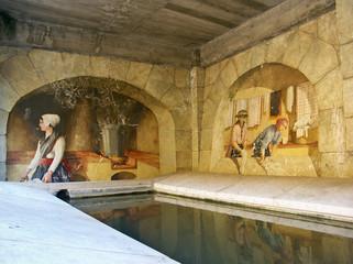 fresque murale lavoir d'Aiguines, Verdon, Var, Provence