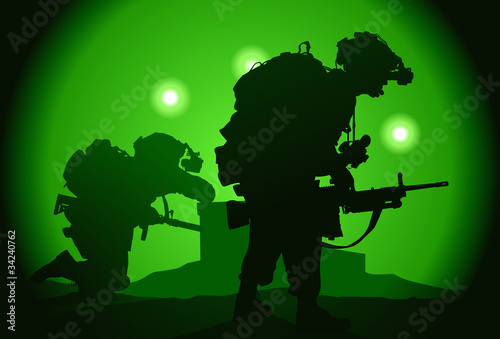 Tuinposter Militair Two US soldiers used night vision goggles