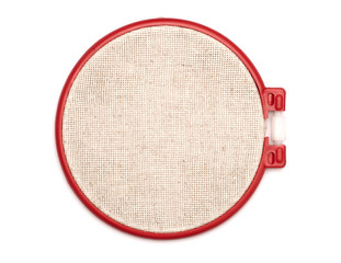 The embroidery hoop is on the white background