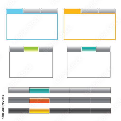 4 tab boxes and 3 navigation menus
