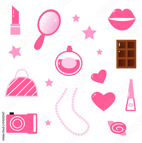 Girls pink icons and elements isolated on white. Vector