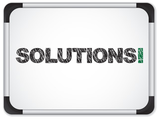 Whiteboard with Solutions Message written in Black