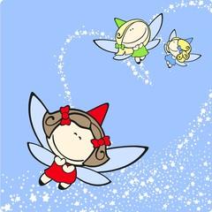 Cute fairies trio flying