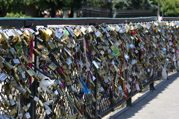 Padlocks on a bridge in Paris