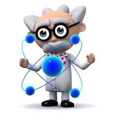 3d Mad Scientist plays with his atoms