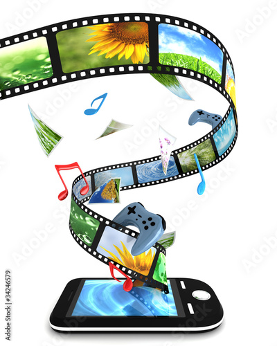 Smartphone with photos, video, music, and games