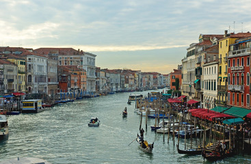 Italy, Venice sunset in the grand canal
