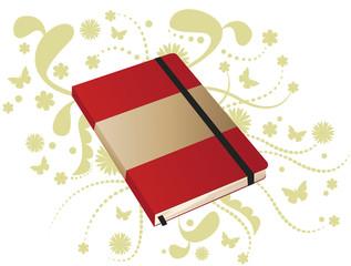 Caderno vermelho de anotações