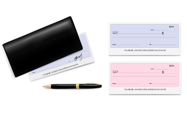 Black checkbook with checks (cheques) and pen. Vector.