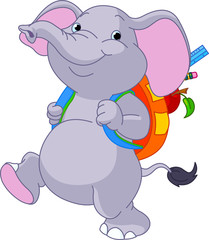 Cute elephant go to school